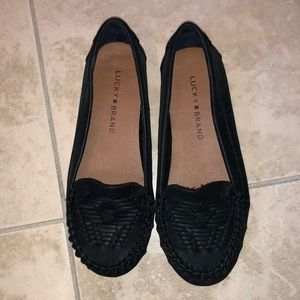 Lucky Brand Black moccasin loafers. Worn once!!